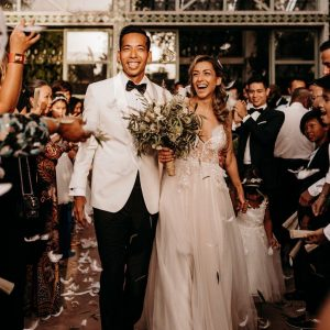Bride and Groom of an Elegant Boho Chic Wedding at the Beldi Country Club