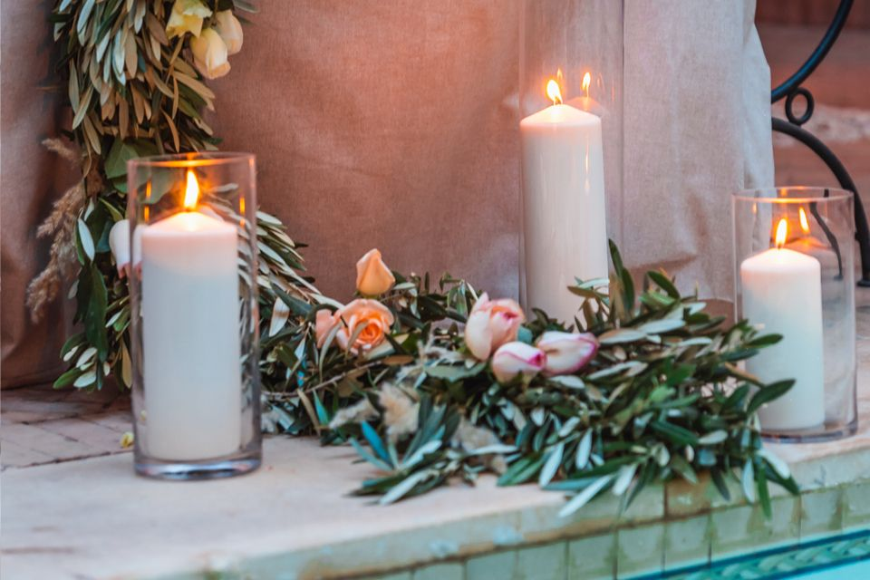 Canddles decor for a Simple Chic Wedding in the Medina of Marrakesh