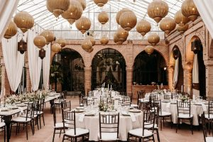 Diner set up for an Elegant Boho Chic Wedding at the Beldi Country Club