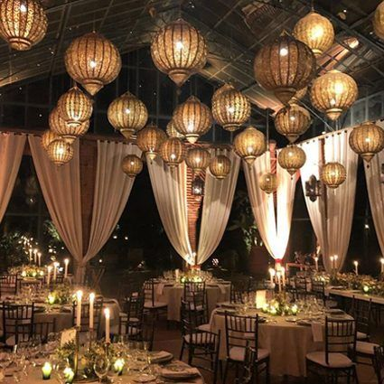 Lantern ceiling decor for an Elegant Boho Chic Wedding at the Beldi Country Club