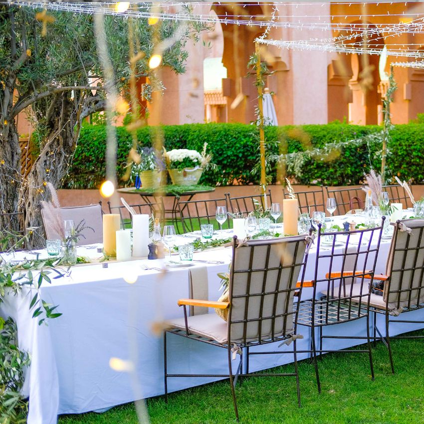 A Boho Wedding at the Amanjena Hotel Bespoke by Hello Event Wedding Planner - Diner table decor and setup