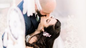 A Romantic Wedding at the Villa Dar Moucha in Morocco - Bespoke by Hello Event - Bride and Groom kissing