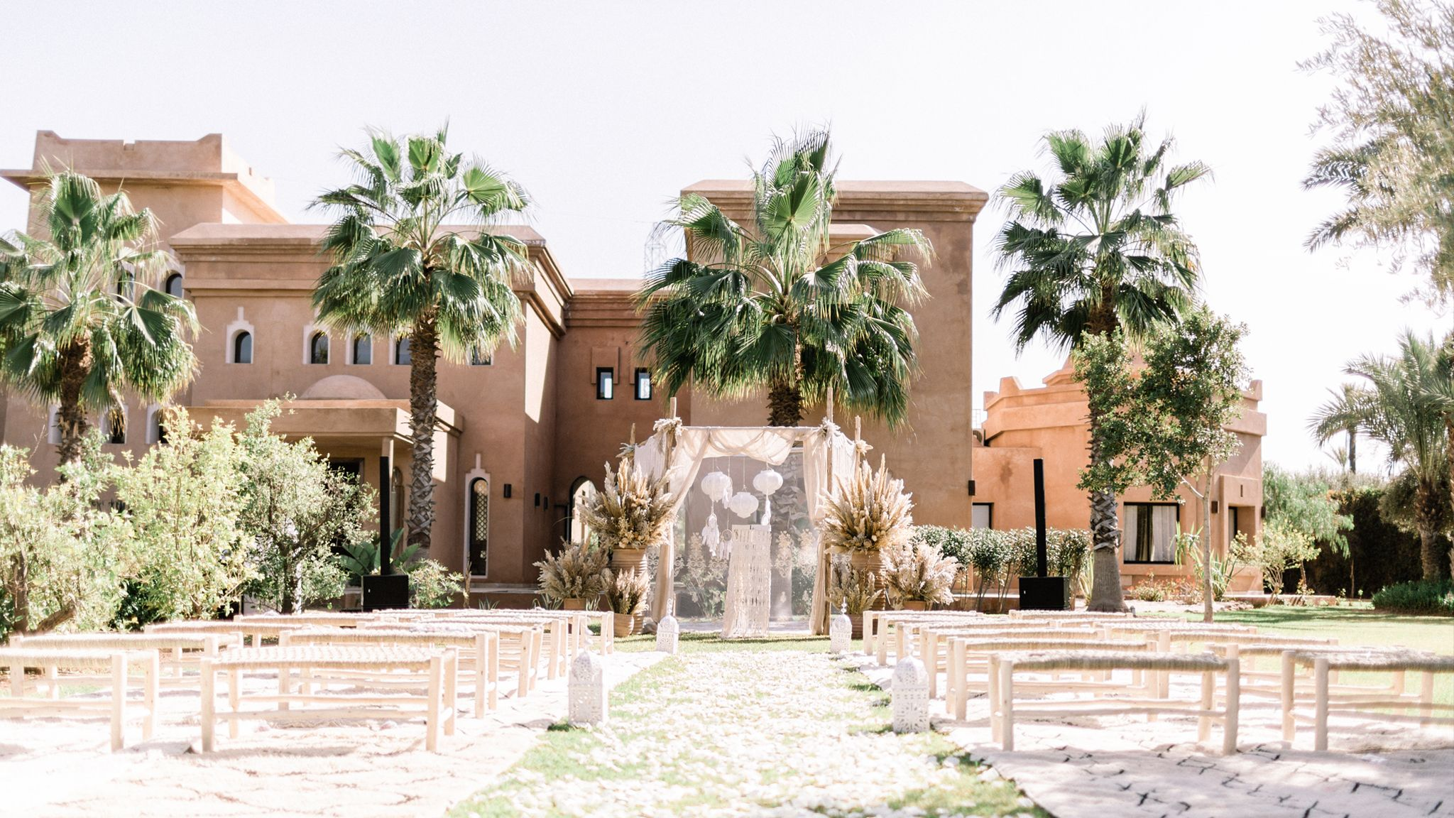 A Romantic Wedding at the Villa Dar Moucha in Morocco - Bespoke by Hello Event - Ceremony Setup Arch